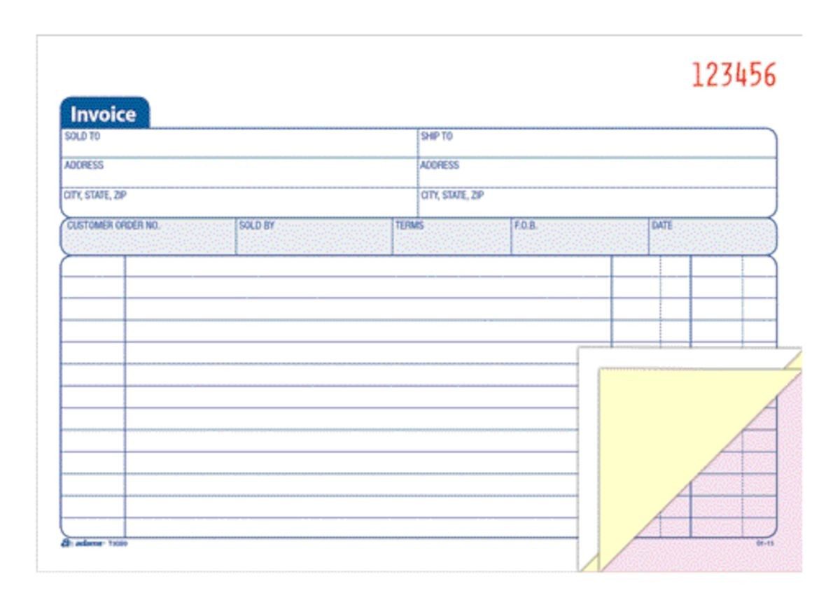 Adams Carbonless Invoice Book 3 Part 5 916 x 8 12 Multicolor by