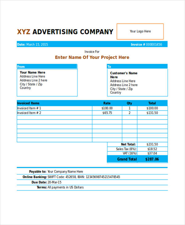 6 Advertising Invoice Templates Free Sample, Example, Format