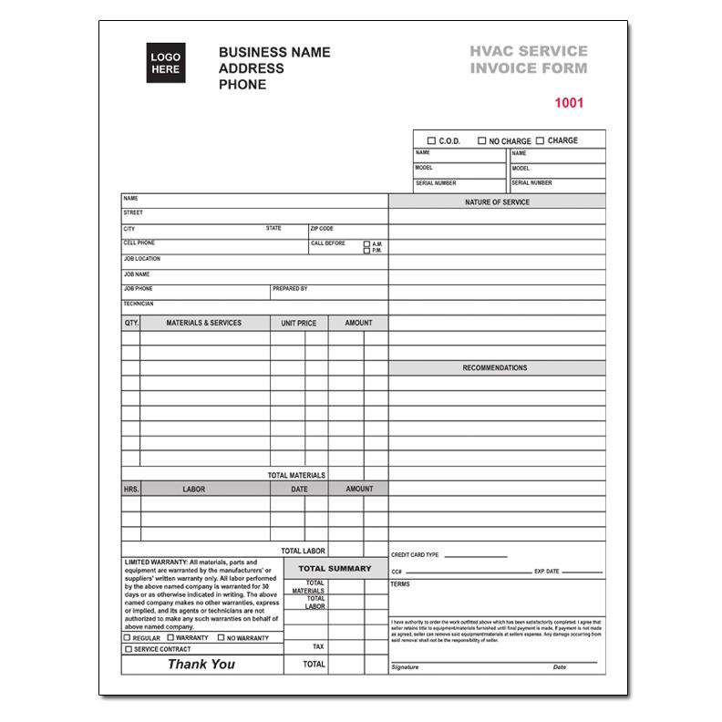HVAC Contractor Invoice Form Custom Form Printing | DesignsnPrint