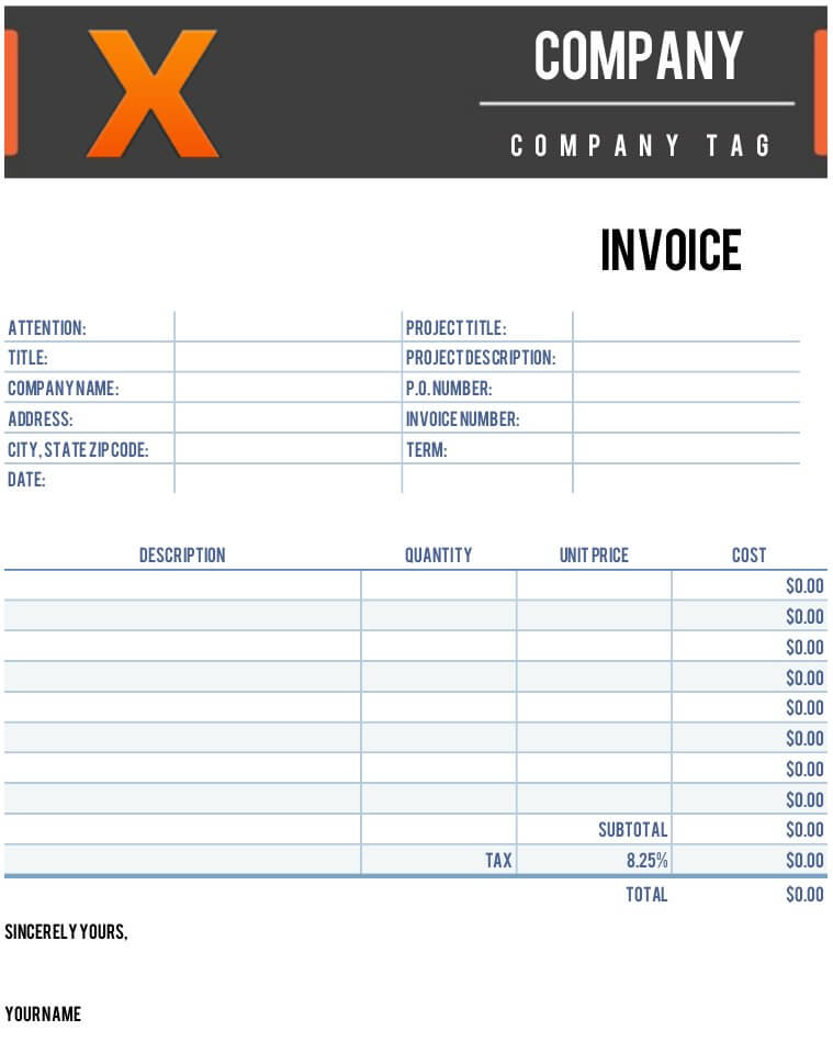 X Invoice Template for Numbers | Free iWork Templates