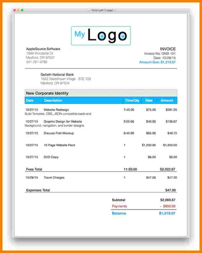 Apple Pages Invoice Template Apcc2017
