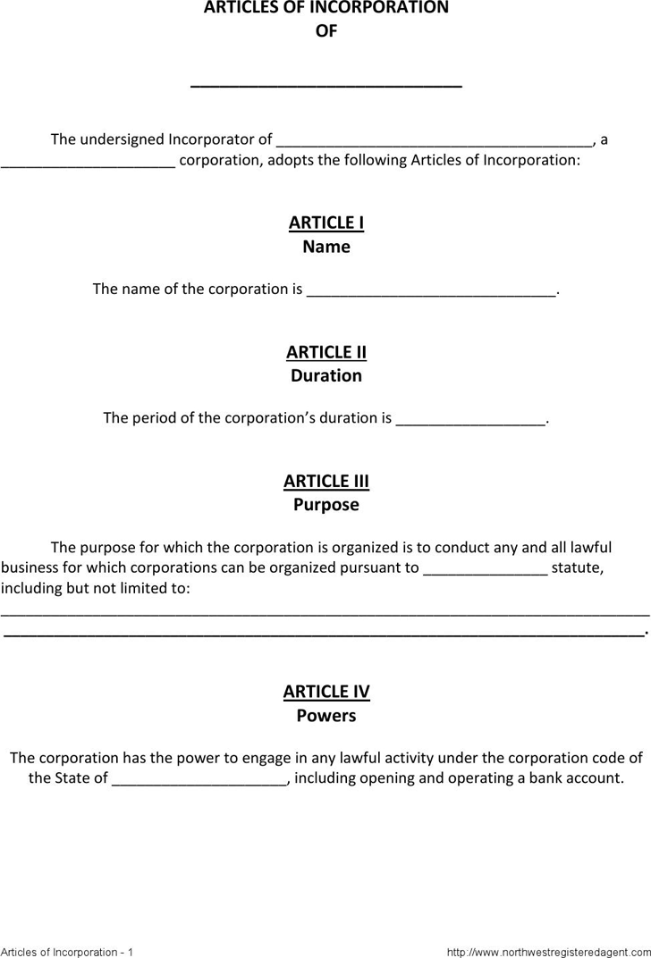 articles of incorporation form The Death Of Articles Of
