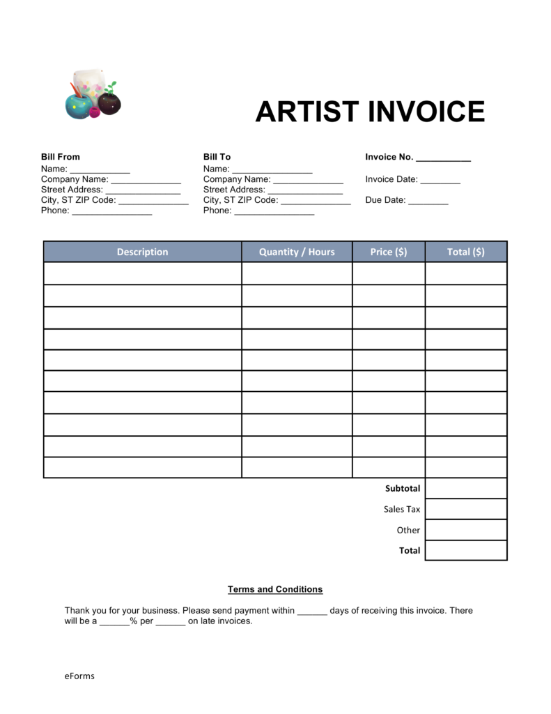Free Artist Invoice Template Word | PDF | eForms – Free Fillable