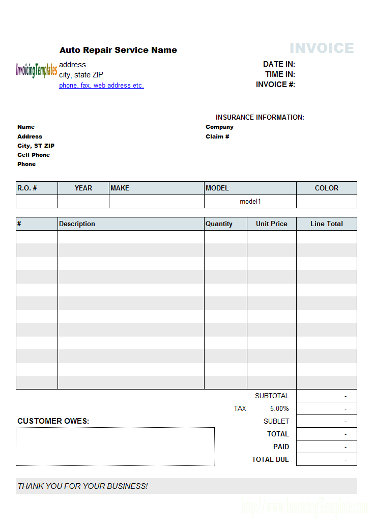 Automotive Invoice Software Free Unique Design Repair Invoice