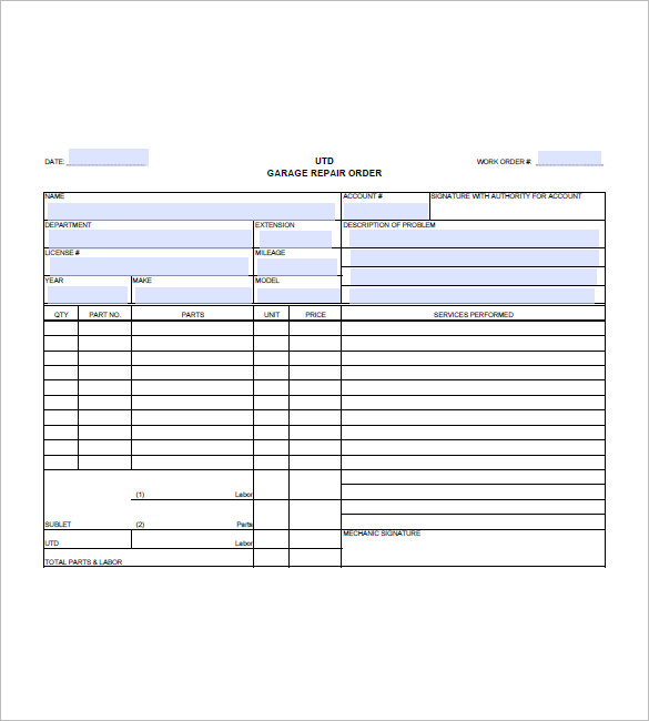 Nerdy image intended for free printable auto repair invoice template