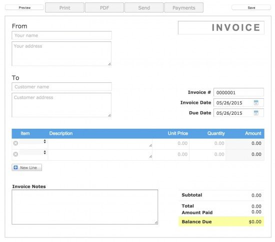Aynex Invoice for Template Business Card @ New Invoice 2go Invoice