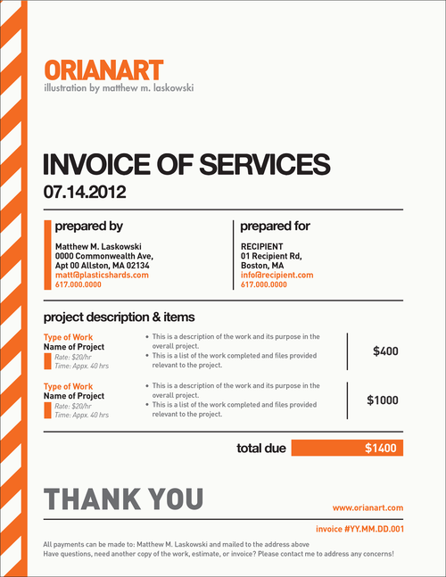 Very Nice Invoice design by Orianart Beautiful Invoices