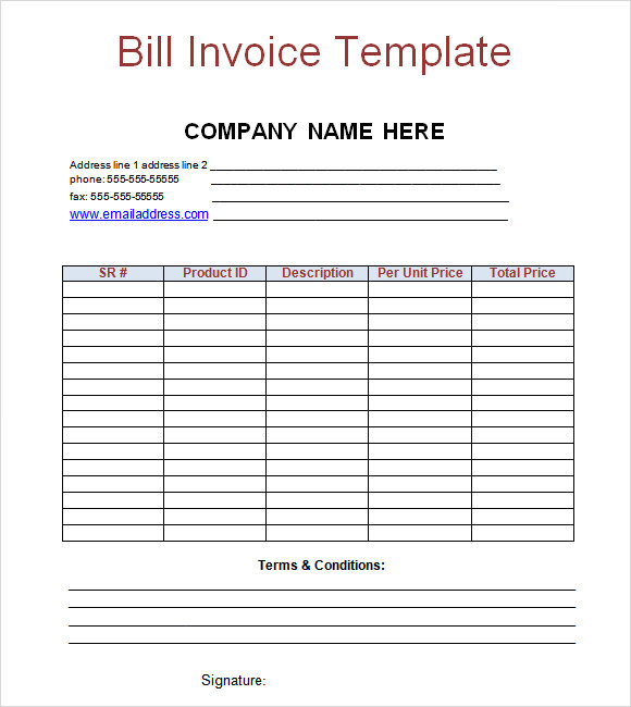 sample invoice template for word