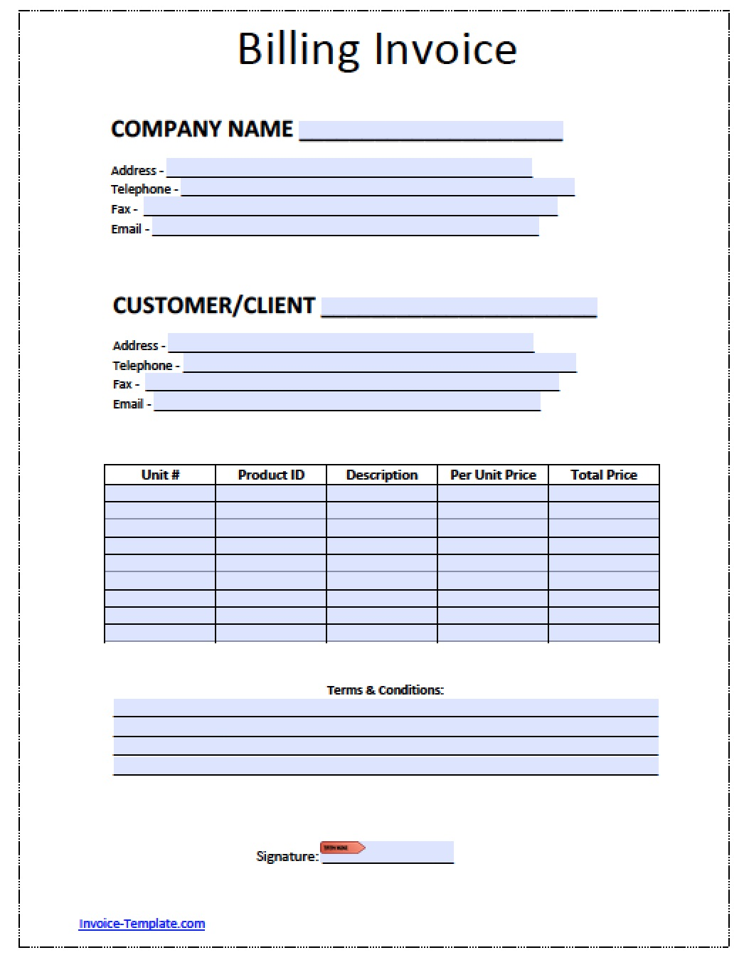 Free Billing Invoice Template | Excel | PDF | Word (.doc)