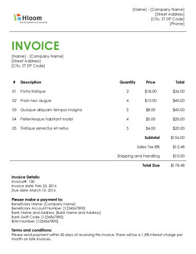 Free Billing Invoice Templates Billing Invoice Template 6 Free