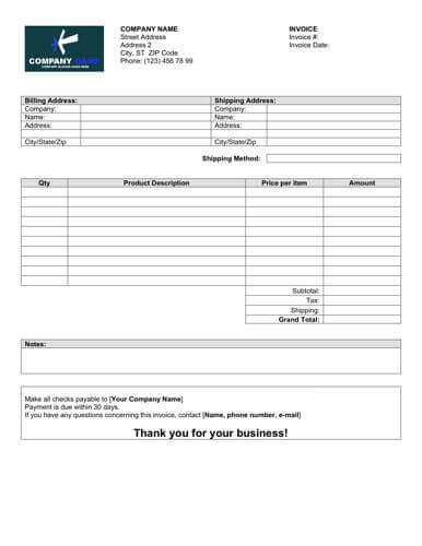 Sales Invoice Templates 27 Examples In Word And Excel Blank Sales