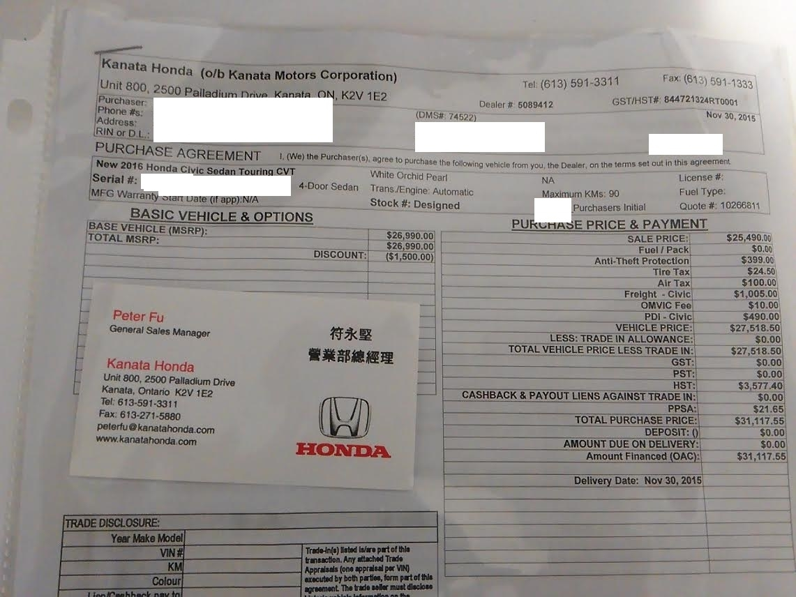 Is Anyone Getting Discounts In Canada ? Page 2 10Th Gen Civic Msrp