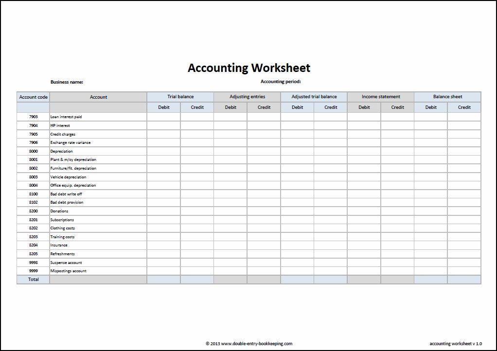 accounting worksheet template excel accounting worksheet template