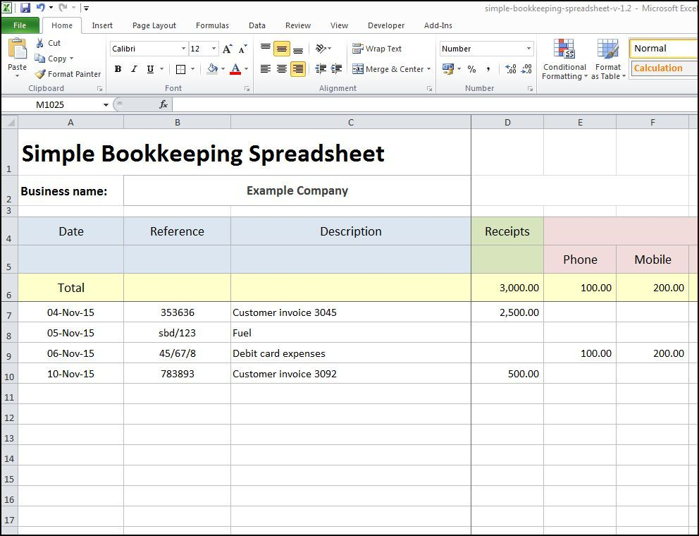 simple excel bookkeeping template Ecza.solinf.co
