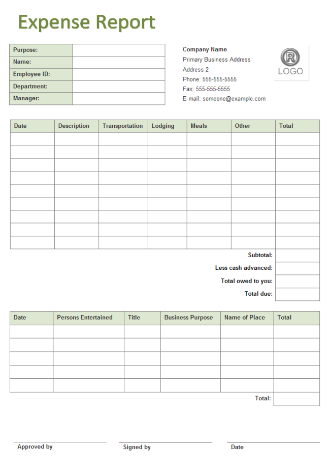 business expense form templates business expense report free