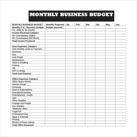 monthly business expenses template Ecza.solinf.co