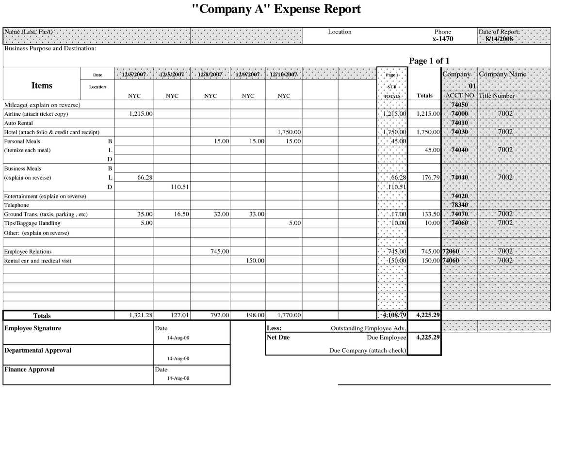 Home Business Expense Spreadsheet With Excel Expense Report