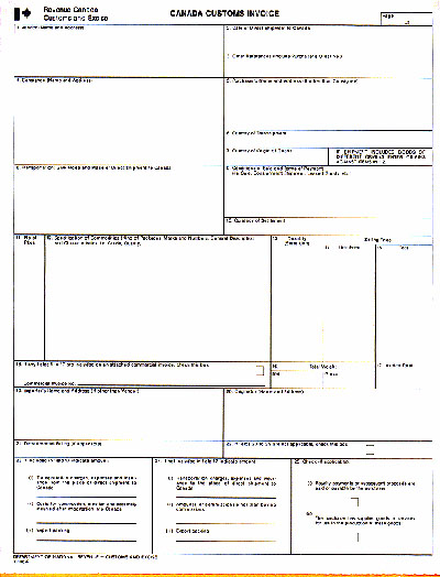 Commercial Invoice Template Canada To Usa