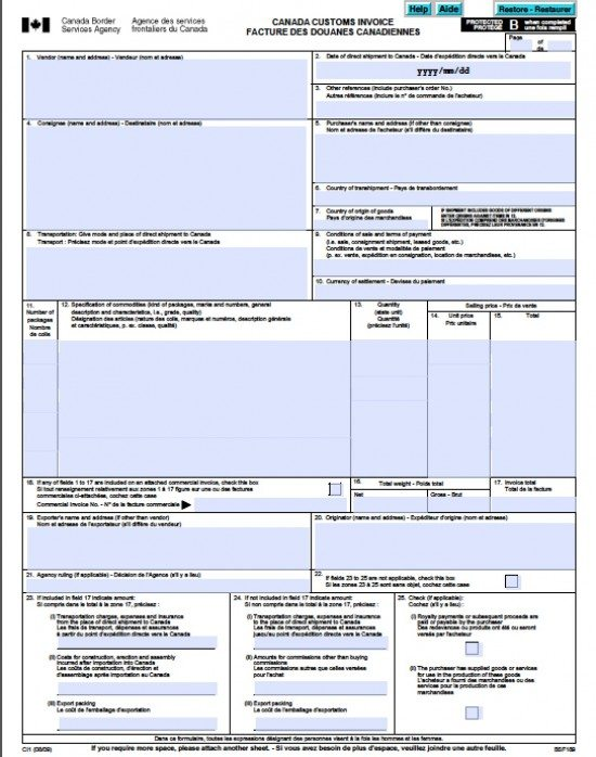 Free Canada Customs Commercial Invoice Template | Form CI1 | Excel