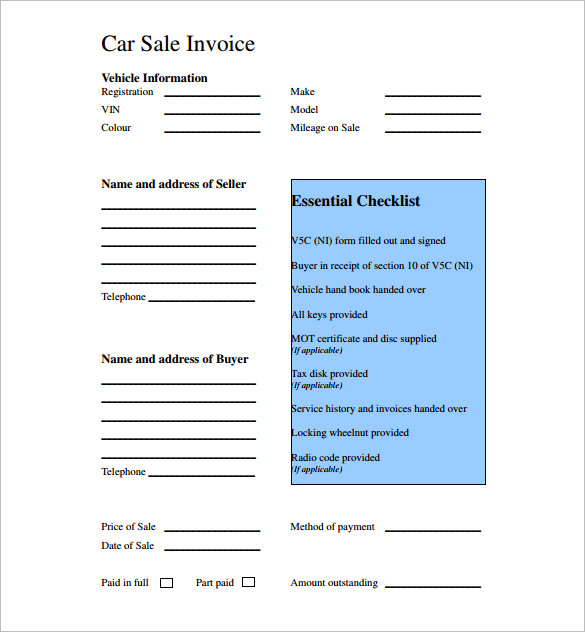 Car Invoice Template Car Sale Receipt Template 6 Free Word Excel