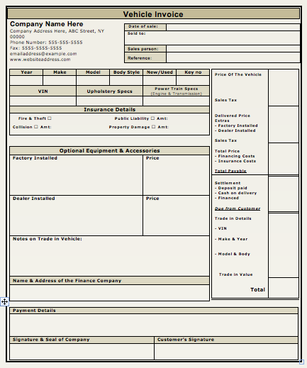 car sales invoice template free download vehicle sales invoice