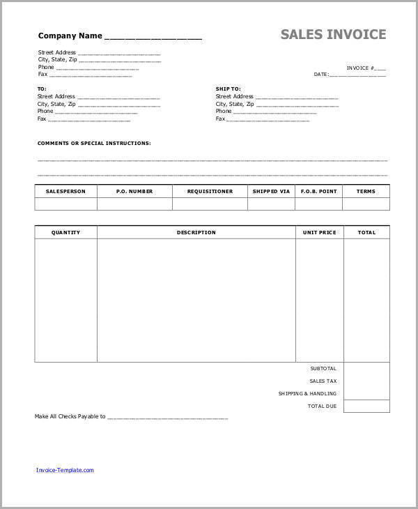 6+ Cash Invoice Samples | Sample Templates