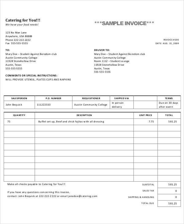 Free Catering Invoice Word | PDF | eForms – Free Fillable Forms