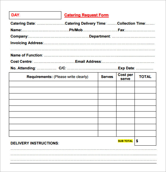 catering invoice template catering invoice sample 10 documents in