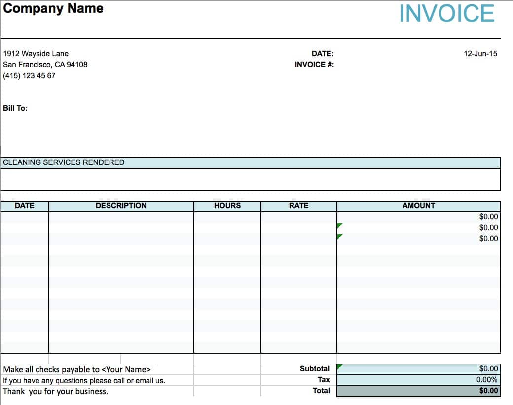 Free House Cleaning Service Invoice Template | Excel | PDF | Word