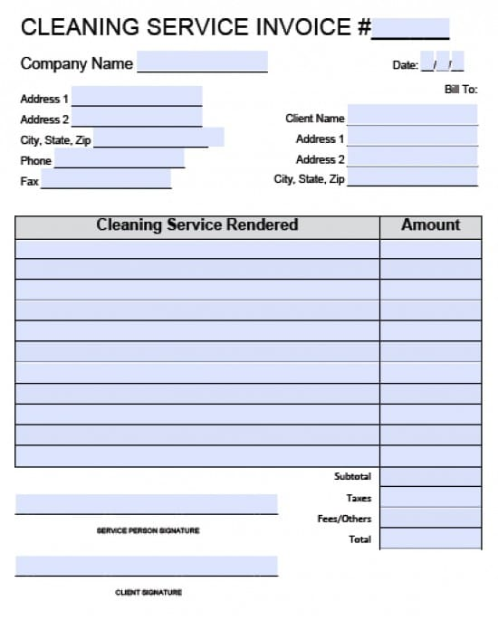 cleaning services invoice sample