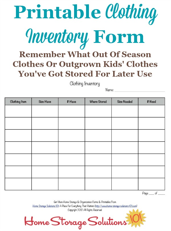 clothing inventory sheet Ecza.solinf.co