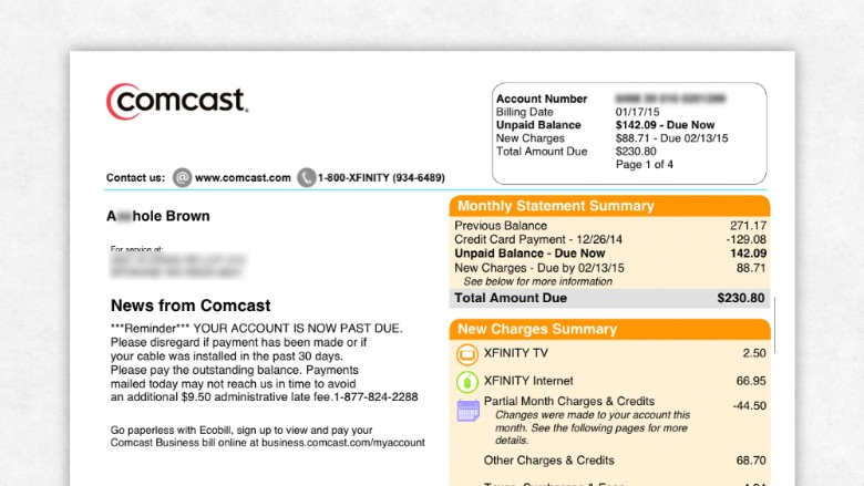 Comcast apologizes to customer for changing name to A hole on bill