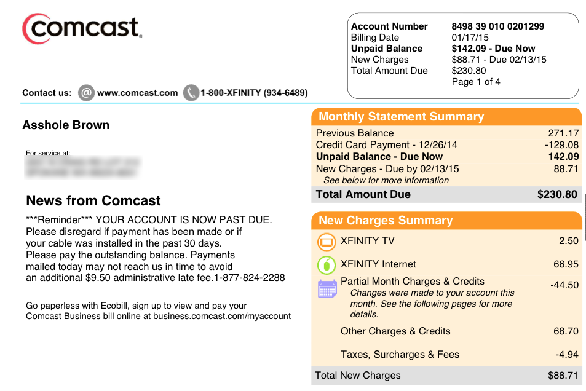 comcast bill template Black.dgfitness.co
