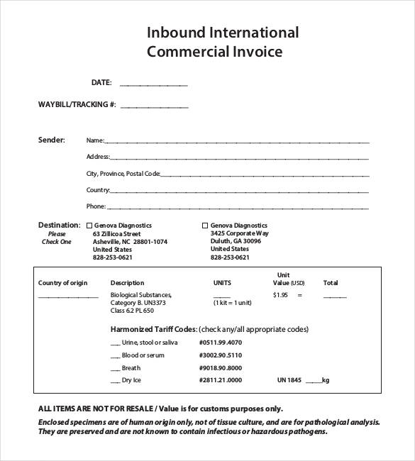 Best Ideas for International Commercial Invoice Template With