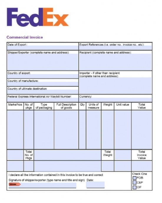 free fillable commercial invoice template free fedex commercial