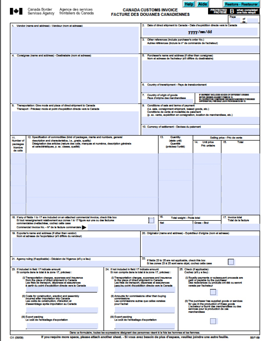 commercial invoice template canada free canada customs commercial