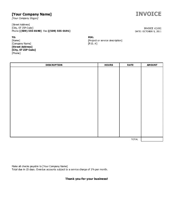 Company Invoice Template Word 19 Blank Invoice Templates Microsoft