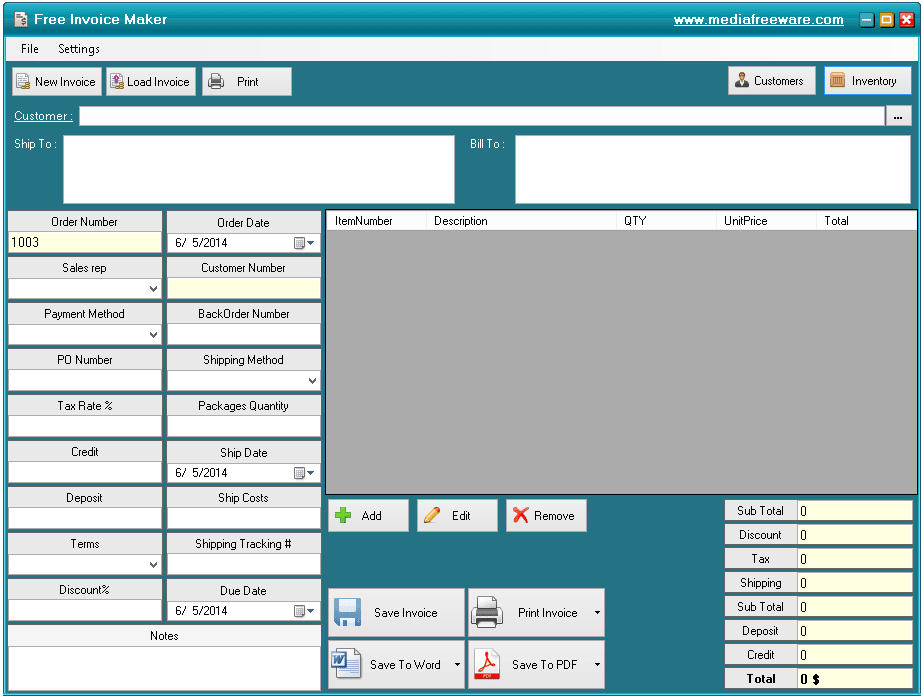 Computer Generated Invoice Software Free Invoice Maker Download