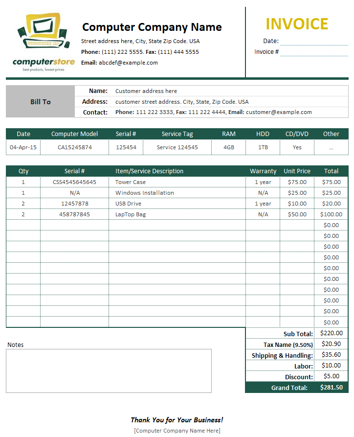 Computer Invoice Format Computer Sales Service Invoice Template