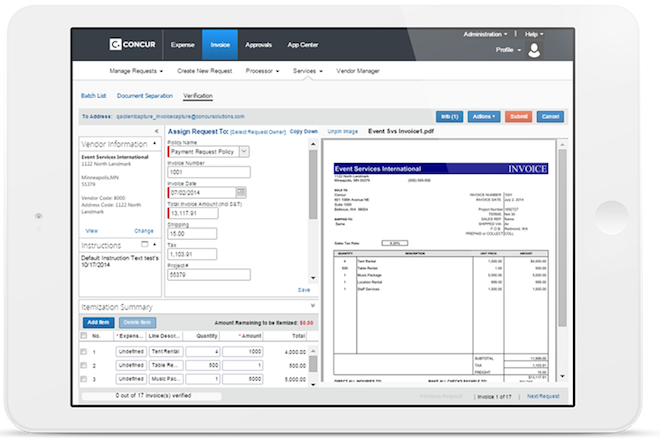 Concur Invoice Capture Electronic Invoice Scanner and Processing