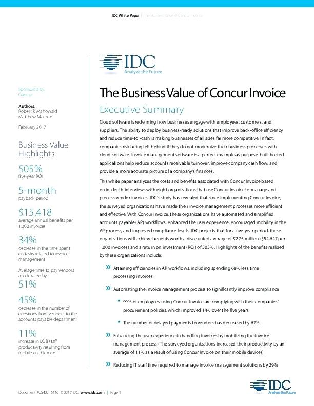 invoice management process the business value of concur invoice