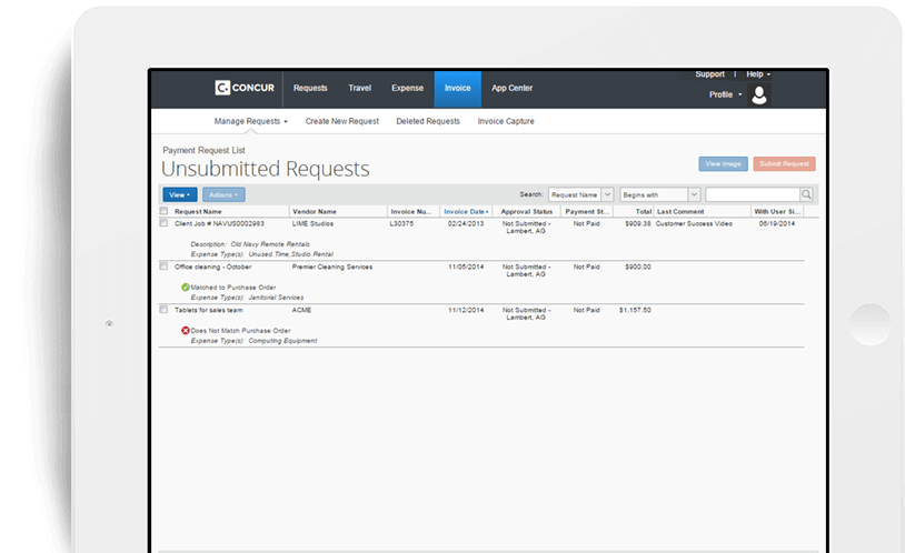 Concur Invoice Pricing Awesome Concur Standard Invoice Management