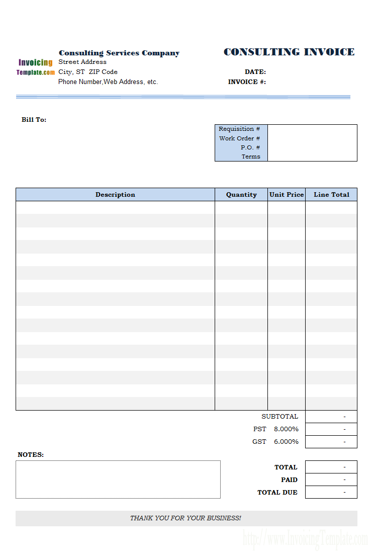 sample consulting invoice word