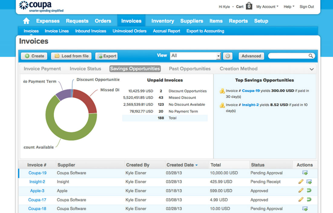 coupa invoice invoice management software savings opportunities