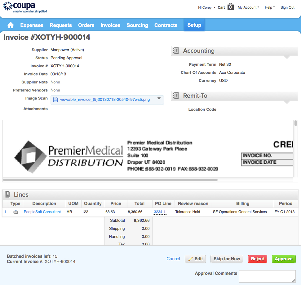 coupa invoice invoicing split screen review