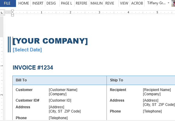 Sales Invoice Template For Word