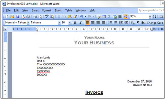 create invoice in word Acur.lunamedia.co