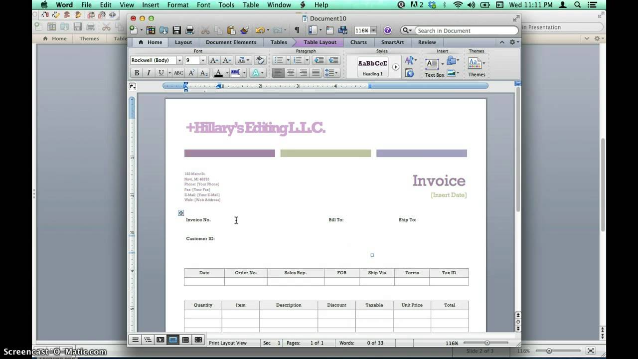 Creating Invoices Using Microsoft Word Templates YouTube