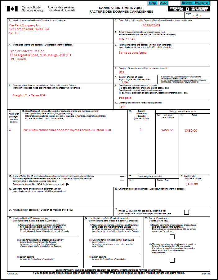 Completing Commercial Invoices   Customs Requirements   TNT Direct