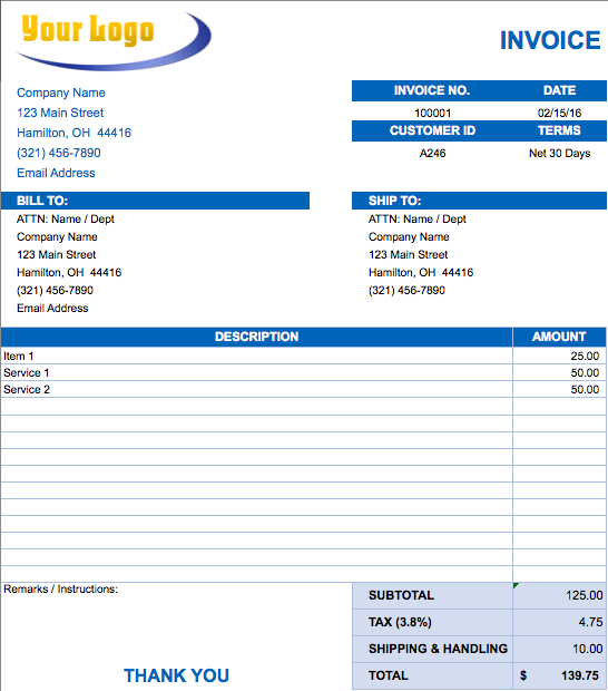 Digital Invoice Template Invoice Template 10 Free Word Pdf